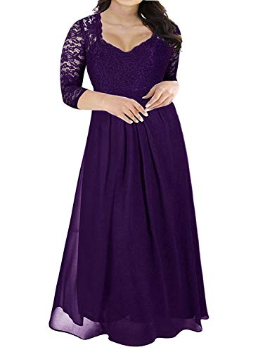 Nemidor Women's Deep- V Neck 3/4 Sleeve Vintage Plus Size Bridesmaid Formal Maxi Dress (16W, Purple+Sleeve)