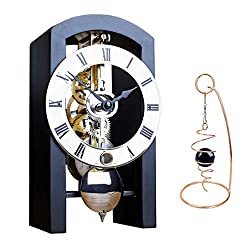 Qwirly 2-Item Bundle: Patterson Skeleton Mechanical Wooden Table Clock by Hermle 23015740721 and Desktop Glass Ball Spinner - Room Accessories Set for Boss, Partner or Friend - Black