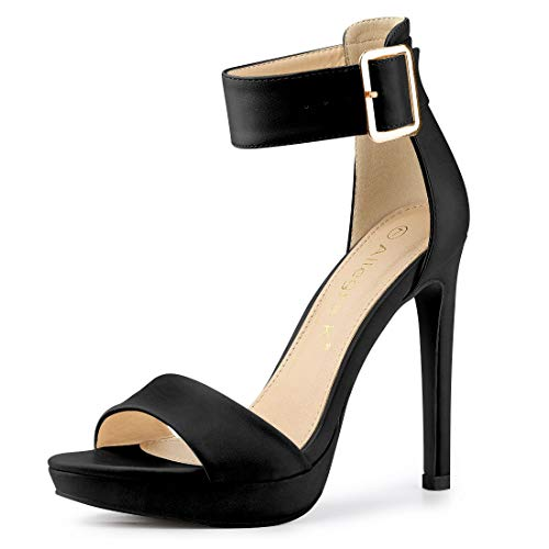 Allegra K Women's Open Toe Platform Strap Stiletto Black High Heel Sandals - 7 M US