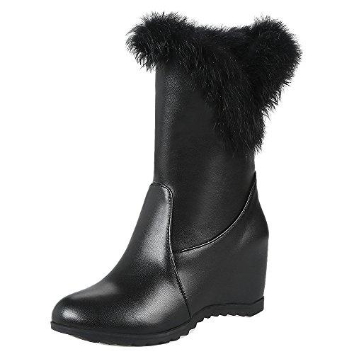 RAZAMAZA Women Pull On Boots Hidden Heel Black Y64GOcN