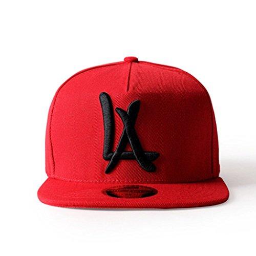 LEEYA N10 Punk Hip-Hop Baseball cap Flat-brimmed hat unisex (red) d96382eaee8