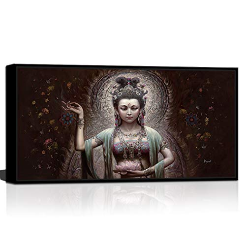CANVASZON Fairy Girl Flying DunHuang Figure Chinese Style Fantasy Oil Painting Printed Canvas Buddha Decor Contemporary Wall Art Framed Ready to Hang 20x40inch