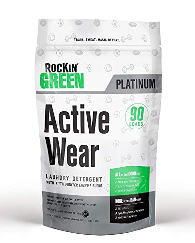Rockin' Green Platinum Series Active Wear Laundry Detergent Powder, 45 oz. - All Natural, Biodegradable, and Eco-Friendly (Best Natural Laundry Detergent For Cloth Diapers)