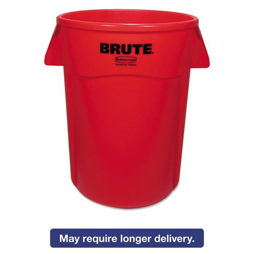 (Rubbermaid Commercial Brute Vented Trash Receptacle, Round, 44 Gal, Red)