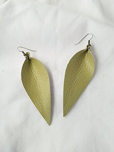 Green Tea / Leather Statement Earrings - Large / Joanna Gaines Earrings / Leaf