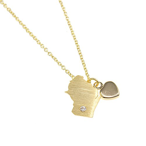 Wisconsin Necklace, Dainty State Necklace, Souvenir Gift, Home Necklace, USA Necklace, State Charm Necklace, Gold Necklace BN432G-WI