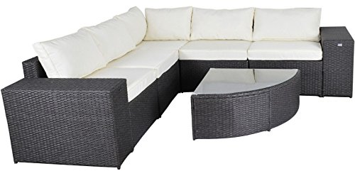 Gotland 6 Piece-set Outdoor Patio Furniture Sectional Sofa & Glass Top Wedge Table,All-Weather wicker with Washable Cushions | Patio, Backyard, Pool,Deck, patio, Balcony | Incl. Waterproof Cover