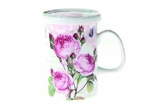 Nuova R2S R8697.283 - Taza para infusiones (con tapa), diseño con rosas románticas