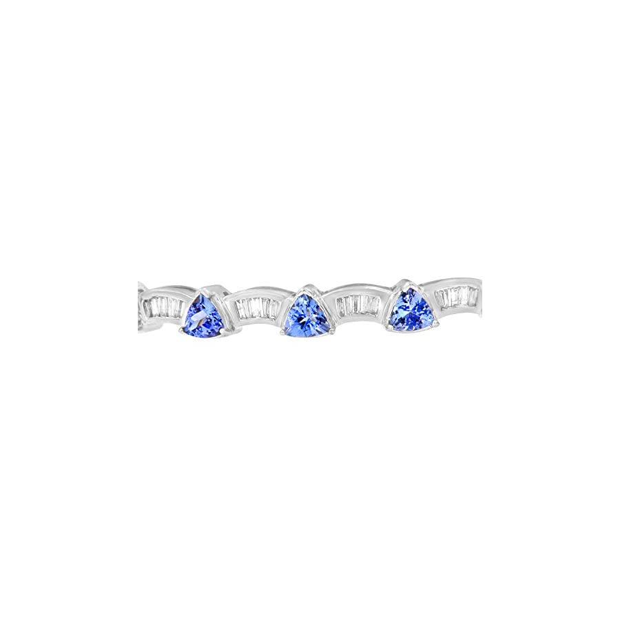Original Classics 14K White Gold Baguette Cut Diamond and Tanzanite Bangle (1.90 cttw, H I Color, VS2 SI1 Clarity)