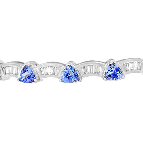 14K White Gold Baguette Cut Diamond and Tanzanite Bangle (1.90 cttw, H I Color, VS2 SI1 Clarity)