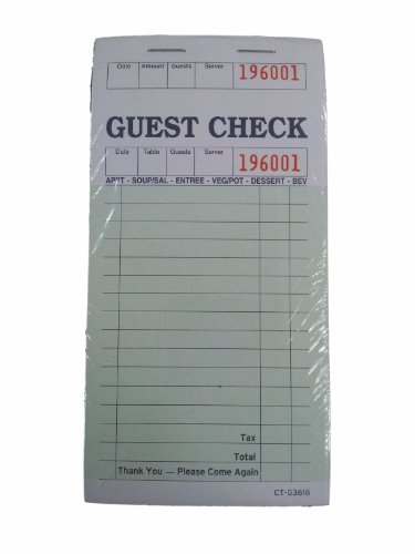 C-Link International Inc. GC3616 Guest Check, One Soft Page, Green, 100 Pages/Book (Case of 50) by C-Link International Inc.