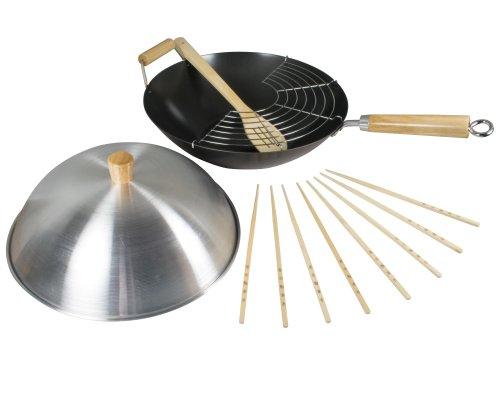 2 opinioni per Dexam Set wok antiaderente in acciaio al carbonio, 34 cm, 8 pezzi