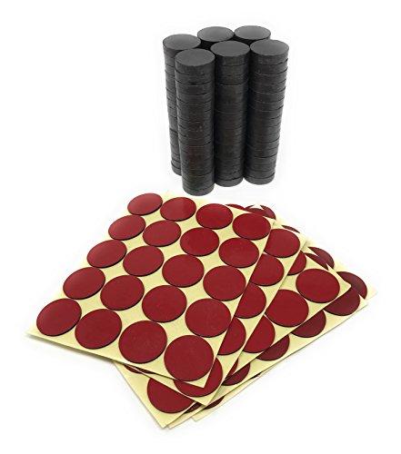 Ceramic ferrite round disc magnet kit - 200 pcs magnet & stickers kit – Superior quality – Multi-purpose (11/16 Inch, 100 Magnets + 100 Adhesive stickers) (Kit Motor Magnet)