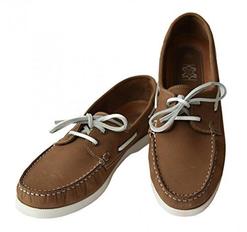 Beverly Originals Herren Leder Bootsschuh Men's Casual Skipper, Farbe:braun;Größe:43