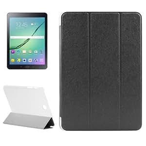 Silk Texture PU Leather + Translucent Frosted Plastic Funda Case Carcasa + lápiz capacitivo (Incluye con 3-Folding Holder para Samsung Galaxy Tab S28.0/T715(Black)
