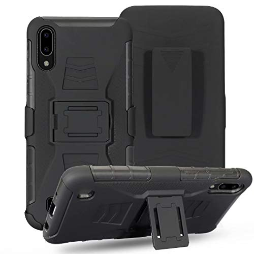 Lantier Hybrid Heavy Duty Shockproof Rugged Holster Protective Case with Kickstand and Swivel Belt Clip for Samsung Galaxy A10 Black (Hybrid Mobile)