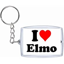 "Exclusive Gift Idea: Keyring ""I Love Elmo"" in White, a Great gift that comes from the Heart - Backpack pendant - love pendant - Keychains- Keyring- Christmas Gift"