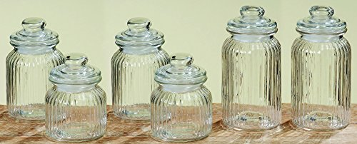 Vorratsgläser / Bonbongläser 6er Set VINTAGE JARS aus Glas mit Deckeln