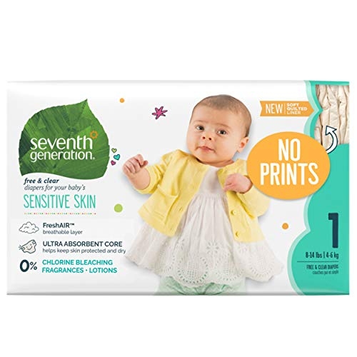 Seventh Generation Baby Diapers for Sensitive Skin, Plain Unprinted, Size 1, 160 Count (Packaging May Vary) (7th Generation Size 1)