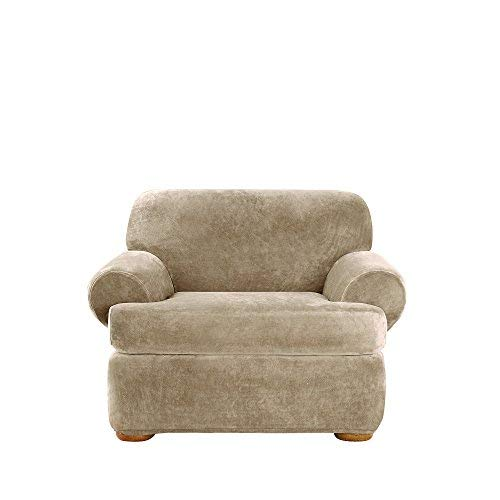 (Sure Fit Stretch Plush Separate Seat Chair Slipcover - Sable)