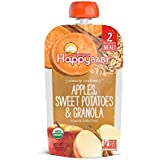 Happy Baby Organic Clearly Crafted Stage 2 Baby Food Apples Sweet Potatoes & Granola, 4 Ounce Pouch (Pack of 16) Resealable Baby Food Pouches, Fruit & Veggie Puree, Organic Non-GMO Gluten Free Kosher