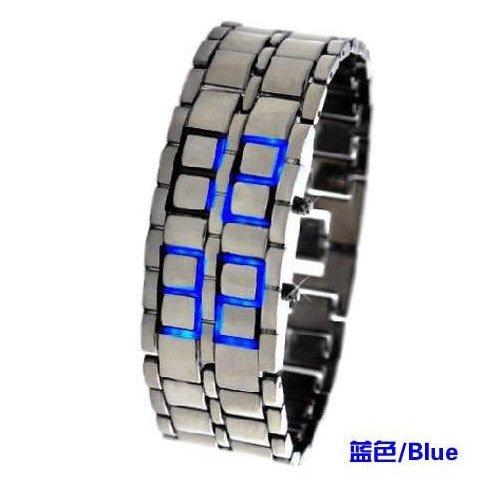 SHARP Lava Style Iron Samurai Metal w/ BLUE Light and SILVER Wrist Band for MEN ()