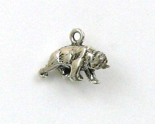 Sterling Silver 3-D Grizzly Bear Charm - Jewelry Accessories Key Chain Bracelet Necklace Pendants