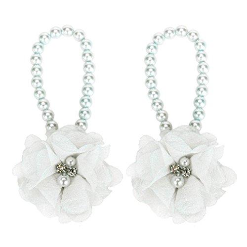 eedf5597f Voberry® 1Pair Baby Girls  Pearl Chiffon Barefoot Foot Flower Beach Sandals  (White) - Buy Online in Oman.
