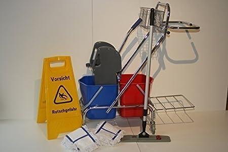 CleanSV Reinigungswagen Putzwagen Dofa 20 plus mit Mop Set Magic click 50 cm + 3 Baumwollmop und Rutschgefahr Schild