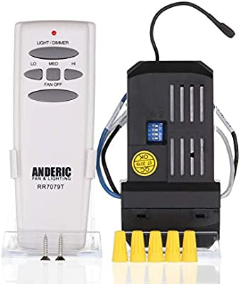 ANDERIC Add-On Kit de mando a distancia para cualquier ventilador de techo de 3 velocidades – ANDERIC Universal techo mando a distancia Kit de conversión con intensidad regulable – incluye ANDERIC rr7079t