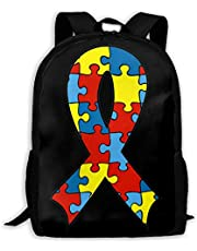 Unisex Au-tism A-Ware-Ness Ri-bbon Casual Backpack School Bag Travel Daypack Gift