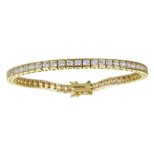 Channel Set Bracelet - Decadence Women's Sterling Silver Yellow 3mm Round Cut Channel Set Tennis Bracelet, 7