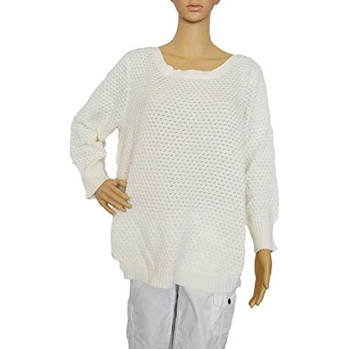 New Fever Women's Popcorn Knit Pullover 3/4 Sleeve Sweater (Size M, Color White Wicker) hot sale