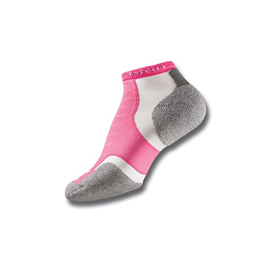 Thorlos Experia Unisex XCCU Multi-Sport Thin Padded Low Cut Sock, Pink, Small