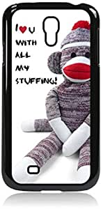 I Love Techno-Wall-Art- Case for the Samsung Galaxy S4 i9500- Hard Black Plastic Snap On Case with Soft Black Rubber Lining