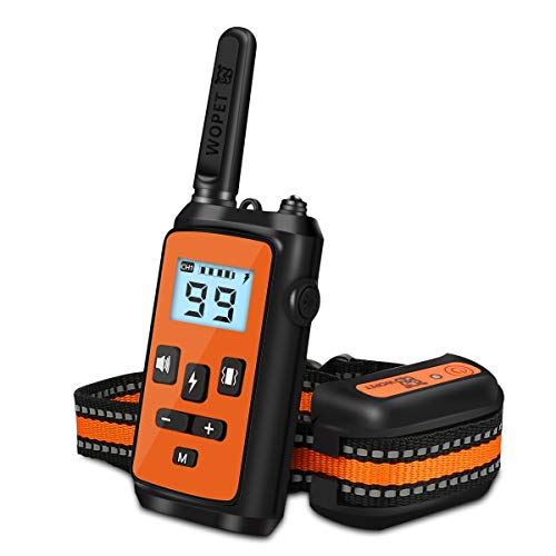 WOPET Dog Training Shock Collar Rechargeable with Beep/Vibra/Electric Shock,100% Waterproof Training Collar, Up to 1500Ft Remote Shock Electric Collar for Small Medium Large Dogs
