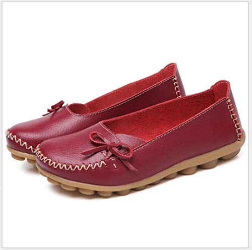 DETAIWIN Women Flat Loafers Oxxfords Non-Slip Shallow Leather Soft Lace-up Round Toe Casual Breathable Outdoor Driving Shoes Wine Red (New Oxxford Clothes)