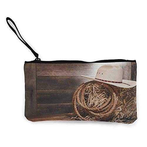 Women's hand bag clutch bag Western American West Rodeo Hat Traditional Ranching Robe on Wooden Ground Folk Art Photo Wallet Coin Purses Clutch W 8.5