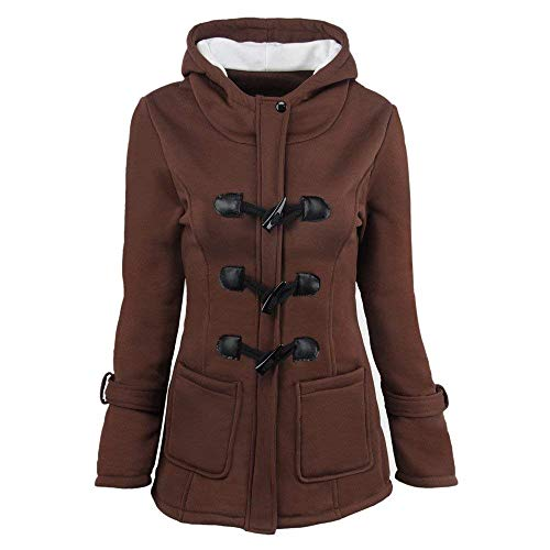 Cappuccio Giaccone Anteriori Braun Donna Cerniera Calda Giacca Stile Tasche Moda Invernali Modern Abbigliamento Lunga Con Manica Outwear Monocromo Coat 5T4WUWHn