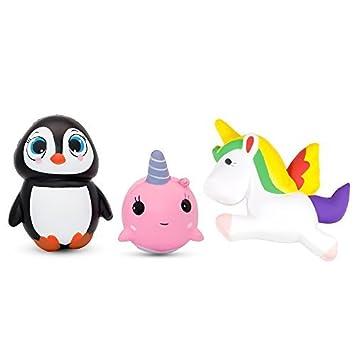 specool 3 pcs lenta Rising squishies Unicorn ballena squishies y Squishy pingüino Stress Relief Juguetes para niños y adultos, azul
