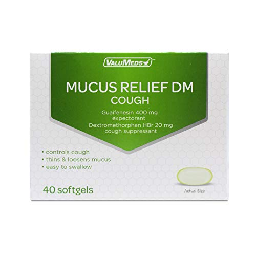 ValuMeds Mucus Relief DM Softgels (40 Softgels) Expectorant, Decongestant, and Cough Suppressant | Guaifenesin (400mg) and Dextromethorphan (20mg) (Best Medication For Mucus)