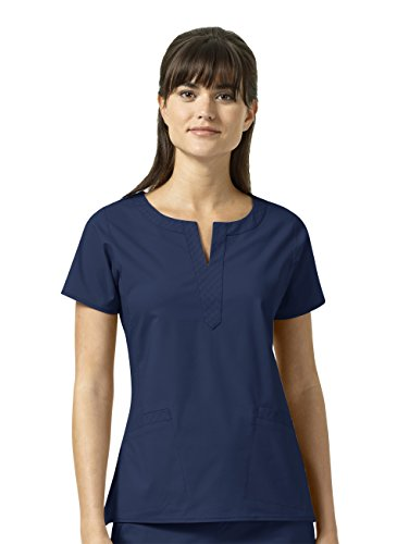 Signature Collection By Vera Bradley Women's Linda Notch Neck Solid Scrub Top Navy (Collection Womens Signature)