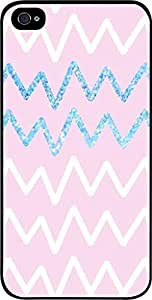 Pink and Blue Glitter Chevrons- Case for the Apple Iphone 5-5s Universal-Hard Black Plastic