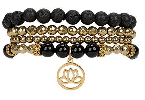(SPUNKYsoul Lotus Onyx New Beginnings Bracelet Hematite for Healing Stack Bracelet Set Collection)