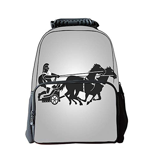 Bag Travel Chariot (Print Schoolbag,Toga Party,Mythological Chariot Gladiator with Horse Traditional Greek Culture Image Decorative,Dimgrey Black,for Boys,Diversified Design)