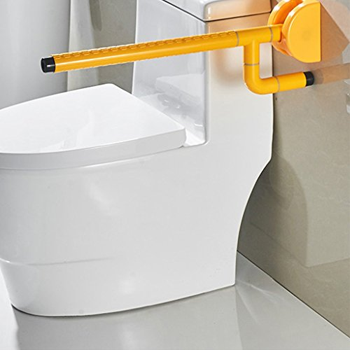 Handrails Folding Anti-slip Toilet Armchair Handicapped Safe For The Elderly Handicapped Wall-mounted Bathroom Upstairs Toilet Booster (white And Yellow) (Color : Yellow) by Hw Ⓡ Toilet handrails (Image #2)