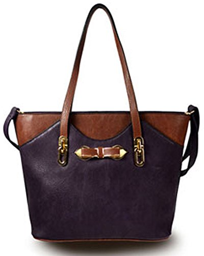 Color Block Tote Handbag (Black)