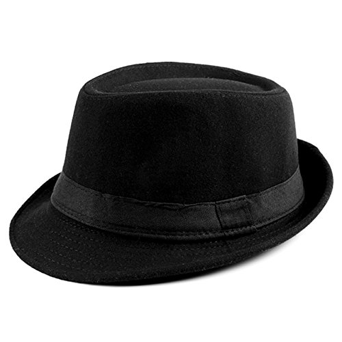 Ayliss Trilby Fedoras Panama Jazz Hat Short Brim Bowler Hat for Men/Women (Black)