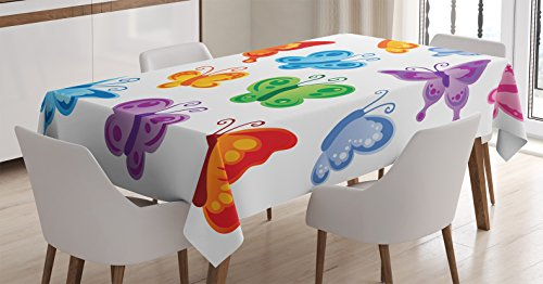 (Ambesonne Butterfly Tablecloth, Colorful Butterfly Pattern Cute Ornamentation Winged Animal Love Graphic Print, Dining Room Kitchen Rectangular Table Cover, 52 W X 70 L Inches, White Purple)