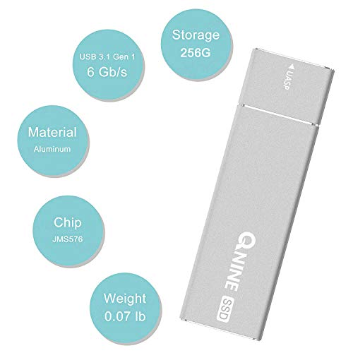 QNINE 256Gb Extreme Portable SSD (1.1 oz Weight), USB C SSD External Hard Drive - USB 3.1 High Speed External SSD for MacBook Pro, Xbox One X, etc by QNINE (Image #1)